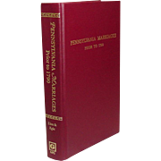 Pennsylvania Marriages Prior to 1790, 1984, Genealogical Publishing, Fine Condition