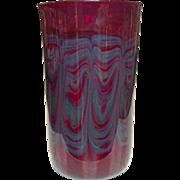 Artisan Blown Glass Vase ~ Sublte Feather-Like Design ~ Deep Red, Lavender Blue ~ Pontil Mark ~ Unsigned