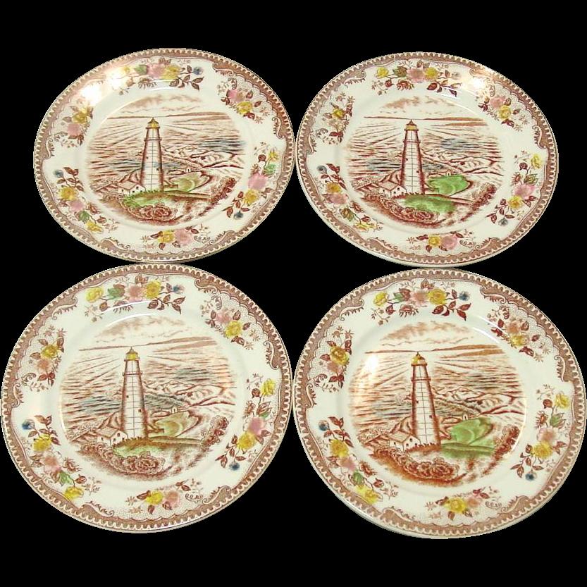 "Transfer-ware Plates ~ Brown & Richie, Ltd. ~ 6 3/8"" Bread Plates ~ Four"