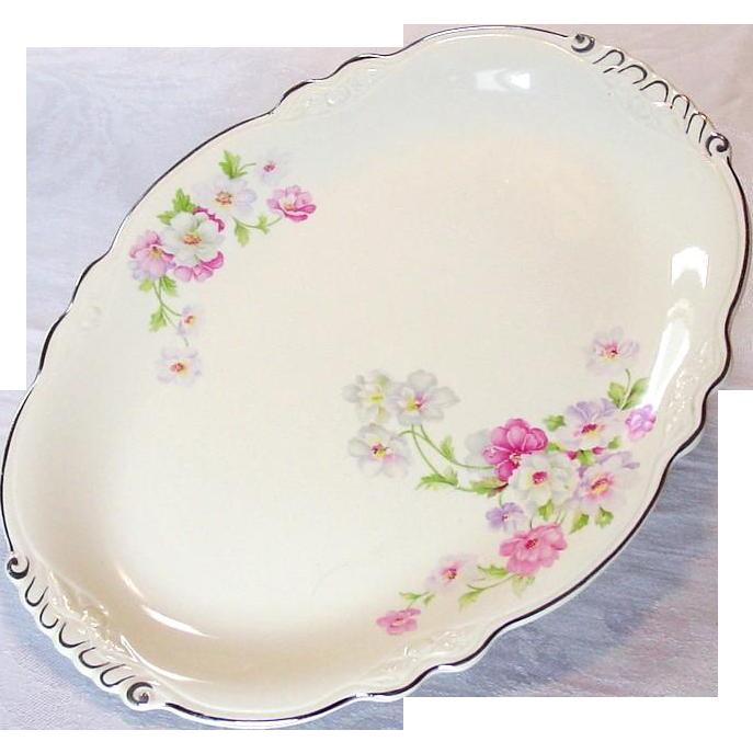 "Homer Laughlin China ~ Virginia Rose ~ Fluffy Rose #1 ~ 13 1/2"" Platter"