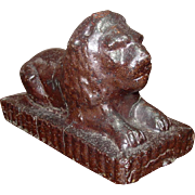Reclining Lion ~ Garden Figure ~ Glazed Terra Cotta  ~ Late 19th Century