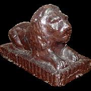 Reclining Lion ~ Garden Figure ~ Glazed Terra Cotta  ~ Late 19th Century