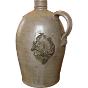 Antique Stoneware Jug ~ 1 Gallon ~ Semi-Ovid ~ Strange Face on Side