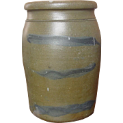 Cobalt Decorated Pennsylvania Stoneware Storage Jar ~ Three Striper ~ Circa 1880