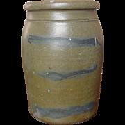 Cobalt Decorated Pennsylvania Stoneware Storage Jar ~ Three Striper ~ Circa 1880