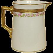 Royal Bayreuth Creamer ~ Bavaria ~ Fine Porcelain ~ Gold and Roses Decoration, Gilt Trim