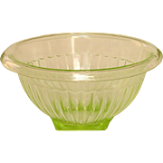 "Paneled Green Depression Glass Mixing Bowl ~ 7 1/2"" ~ Anchor Hocking"