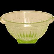 "Paneled Green Depression Glass Mixing Bowl ~ 7 1/2"" ~ Anchor Hocking"