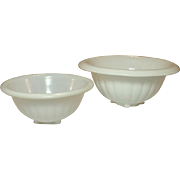 "Hocking Glass ~ White Glass Mixing Bowls ~ 6 3/4"" & 8 1/2"""
