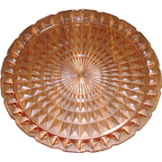 "Jeannette Glass ~ Windsor Diamond Pattern ~ 13 5/8"" Serving Platter ~ Pink"