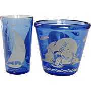"Hazel-Atlas Glass Company ~ ""Ships"" of ""Sailboat"" Ice Tub and Tumbler ~ Late 1930's ~ Cobalt Depression Glass"