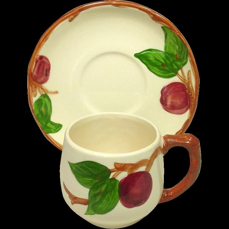 Franciscan China ~ Apple Pattern ~ Small Mug and Saucer ~ U.S.A.