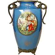 "Sevres Style Vase with Ormolu Stand ~ 13"" ~ Gilt Decoration ~ Classical Scene"