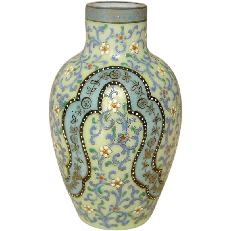 Moser Bohemian Opaline Glass Vase ~ Handpainted, Enamel Jeweling ~ 19th Century