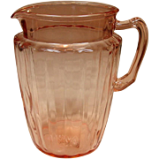 Anchor Hocking Glass ~ Pillar Optic Pattern ~ Pitcher, Pink ~ 1937-1942