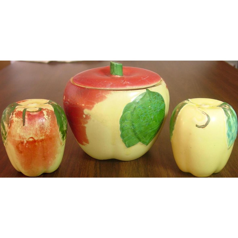 Hull Pottery USA ~ Blush Apple Pattern ~ Salt & Pepper and Covered Sugar Bowl Set