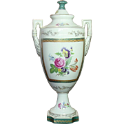 Large Hand Painted Porcelain Urn with Handles & Lid ~ Covered Flower Jar ~ Wildwood Accents