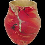 "Nemadji Pottery ~ Vase ~ 4 3/4"" Tall ~ Red and Sand Swirls"
