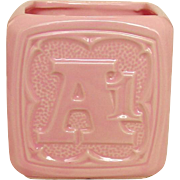 McCoy Pottery USA ~ Floraline ~ Baby Alphabet Block, ABC, 123 Vase /Planter ~ Pink ~ Mid Century