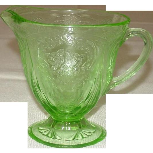 Hazel-Atlas Glass ~ Royal Lace Pattern ~ Creamer, Green ~ Depression Glass