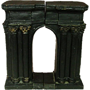 """Cast Iron Bookends ~ Arch Shape ~ Black with Gilt Trim ~ 7.5"""" ~ Early 20th Century"""