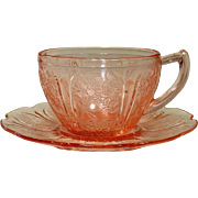 Cherry Blossom Pattern ~ Cups and Saucers ~ Pink ~ Jeannette Glass ~ 1930-39 ~ Depression Glass