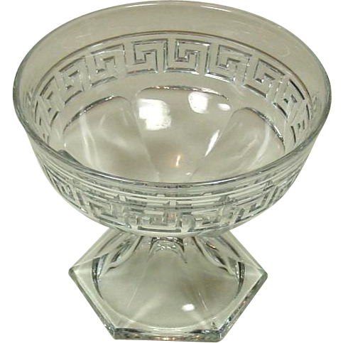 "A. H. Heisey & Company ~ 7"" Low Footed Glass Bowl ~ Grecian Border Pattern ~ Early 20th Century"