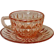 "Pink Depression Glass ~ Windsor, ""Windsor Diamond"" Pattern ~ Jeannette Glass ~ Cup & Saucer"