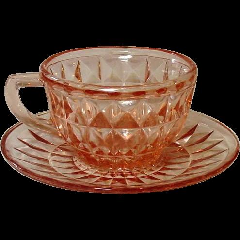 "Pink Depression Glass ~ Windsor, ""Windsor Diamond"" Pattern ~ Jeannette Glass ~ Cup & Saucer"
