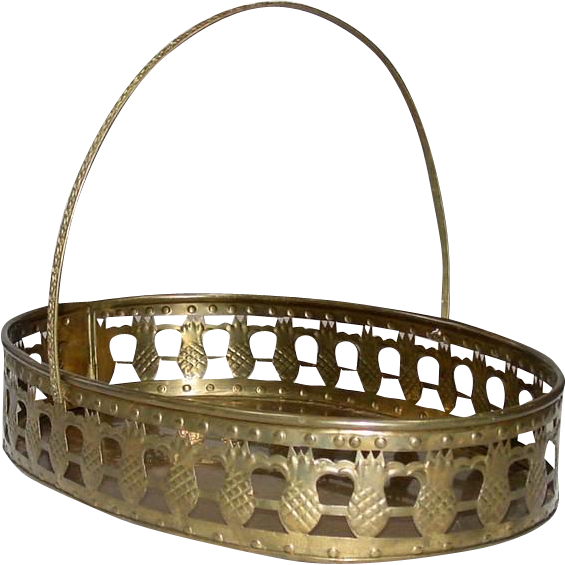 Large Oval Brass Basket Tray w/ handle ~ Made in India ~ Pineapple Motif ~ Mid-Century,