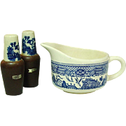 Blue Willow Pattern ~ Open Creamer and Salt & Pepper ~ Royal China Company