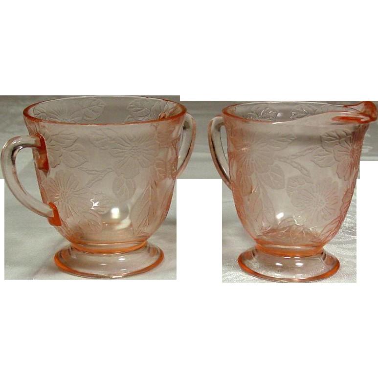 Depression Glass ~ MacBeth-Evans Glass Company ~ Dogwood Pattern ~ Creamer & Sugar ~ 1929-1932