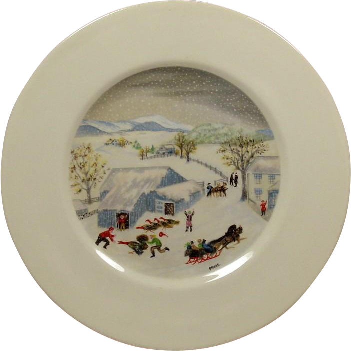 """Grandma Moses Limited Edition Plate ~ Atlas China ~ """"Catching the Thanksgiven Turkey"""" ~ Mid-Century"""