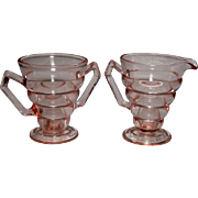 Depression Glass ~ Creamer and Sugar Set~  Pink ~ Art Deco