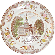 Transfer-ware Dinner Plate ~ Brown & Richie Ltd. ~ Independence Hall ~ Discontinued