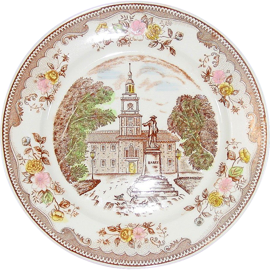Transfer-ware Plate ~ Brown & Richie Ltd. ~ Independence Hall