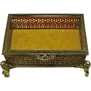 Vintage ~ Metal Filigree Jewelry Casket / Box ~ Goldtone ~ Beveled Glass ~ Putti