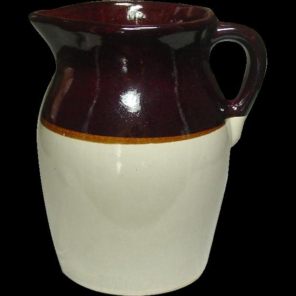Vintage Stoneware Pitcher ~ Brown and Tan ~ 1/2 Gallon