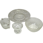 Indiana Glass Company ~ Sandwich Pattern ~ Crystal ~ Plate, Bowls, Sugar, Footed Desert