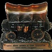 Covered Wagon Coin Bank ~ Copper Colored Metal ~ Santa Maria Savings & Loan Association, Santa Maria, California
