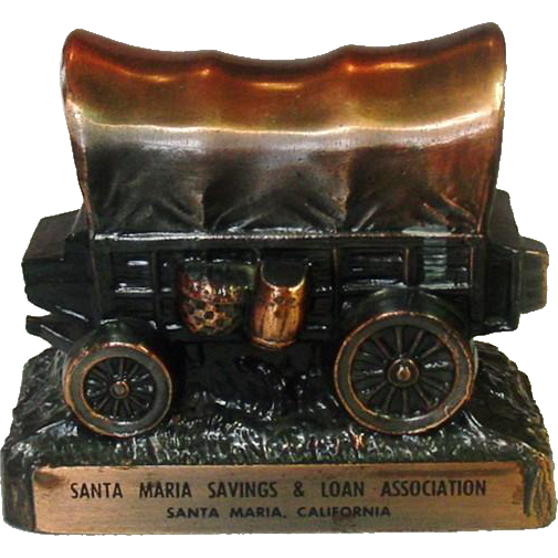 Covered Wagon Coin Bank ~ Copper Colored Metal ~ Santa Maria Savings & Loan Association, Santa Maria, California
