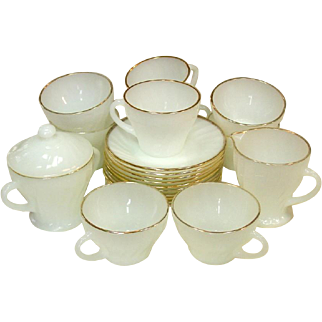 Anchor Hocking Fire-King ~ Golden Shell Pattern ~ Cups & Saucers, Sugar and Creamer