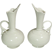 "Vintage White Porcelain Ewer Shaped Vases ~ 7 1/2"" ~ a Pair"