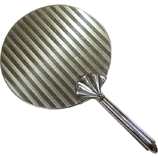 Large Hand Mirror ~ Art Deco Style ~ Chrome ~ Shell or Fan Handle ~ Boudoir