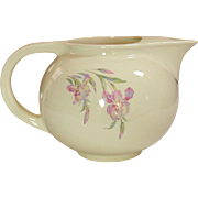Universal Potteries ~ USA ~ Empress Ivory ~ Round or Ball Ice-Lip Jug / Pitcher ~  Orchids ~ Mid-Century