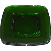 Anchor Hocking Glass company ~ Charm Pattern ~ Forest Green ~ Luncheon Plates ~ 1950's