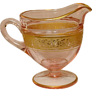 Tiffin Glass Company ~ Rambler Rose Pattern ~ Pink Glass ~ Creamer