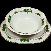 Graf von Henneberg Porcelain ~ Wienlaub Pattern ~ Oval Platter & Vegetable Bowl