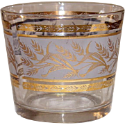 Mid-Century Glass ~ Golden Wheat on Frosted Background ~ Ice Tub or Bucket