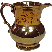 "Copper Lustreware Pitcher ~ Staffordshire, England ~ 19th Century ~ 5"" ~ Excellent"